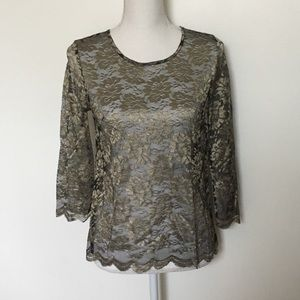 Talbots gold sheer metallic scallop lace top sz 2